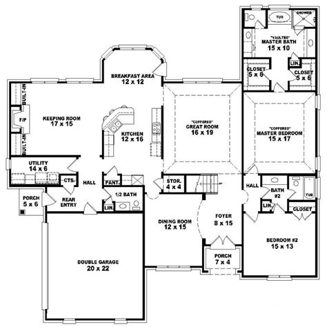 one and a half story house floor plans 653992 one and a half story 4 bedroom 3 5 bath french style house plan house
