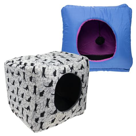covered cat bed kookamunga kitty kube cat cube bed toy covered pet condo