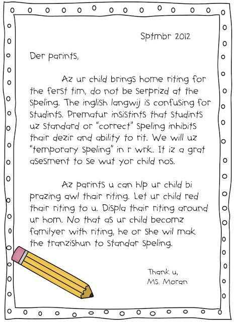 Parent Letter Explaining Reading Workshop Emergent Spelling Handout To Help Parents Understand The Importance Of Reading Writing At Home