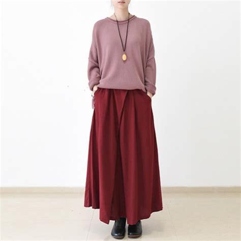 2016 fall burgundy linen skirt plus size maxi skirts