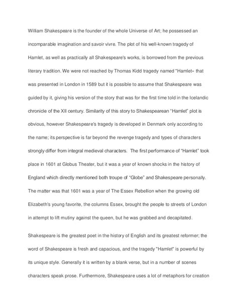 Hamlet Essay Thesis by Hamlet Research Essay Sle Paper Essay