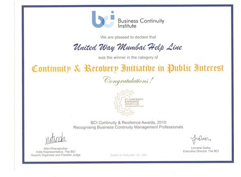 Award Letter Of Continuity United Way Of Mumbai
