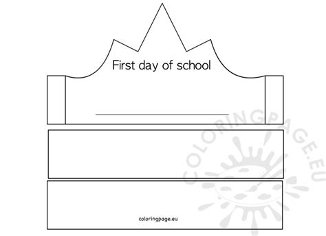 day of school template day of school crown template coloring page