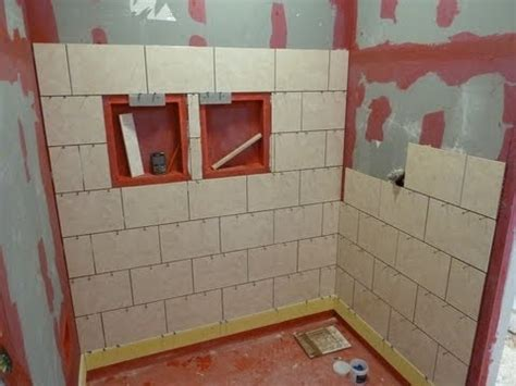 how to tile a bathroom floor and walls part quot 1 quot how to install tile on shower tub wall step by