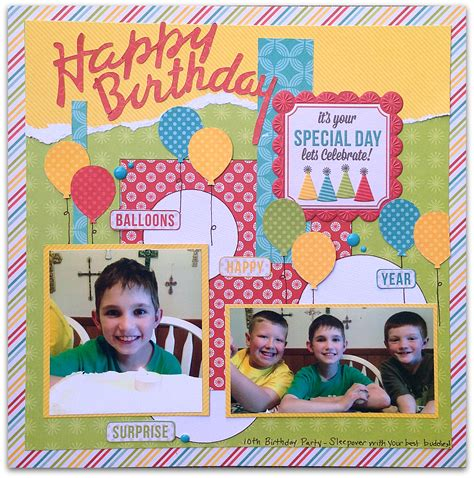 scrapbook layout ideas 5 photos scrapping with christine 5 birthday scrapbook layout