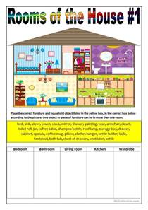 Rooms In The House Rooms Of The House 1 Worksheet Free Esl Printable