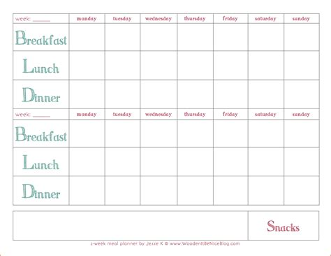 awesome family meal planner template free template 2018
