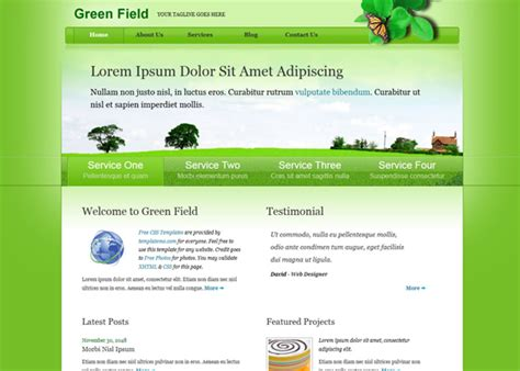 free website templates html css code 20 free green css templates web3mantra