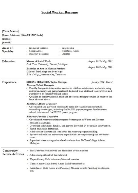 modern social worker resume template sle nifty