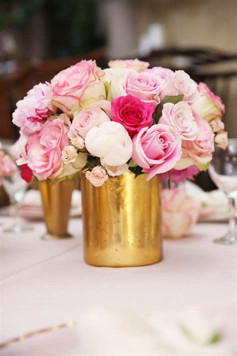 Flowers In Vases For Centerpieces by Pink And Gold Wedding Centerpieces Flowers And Gold