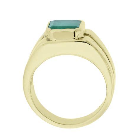14k yellow gold emerald signet ring
