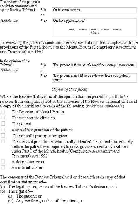 mental health section 1 mental health forms regulations 1992 sr 1992 305 as