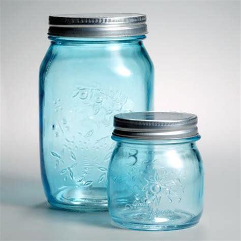 light blue jars 7 quot light blue glass jars set of 6 market