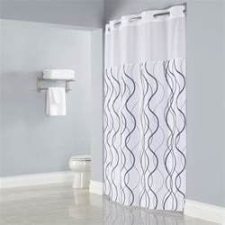 Hookless white with gray waves shower curtain with matching flat flex