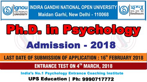 Indira Gandhi Open Mba Distance Education by Ph D Psychology Ignou Admission 2018 Ups Education