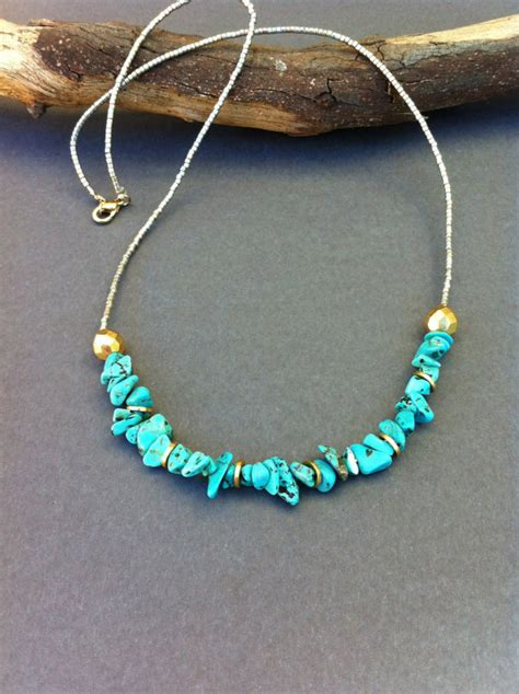 how to make gold beaded jewelry turquoise chip necklace seed beaded necklace turquoise
