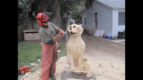 chainsaw pine tree carving   dog  cat  chainsaw