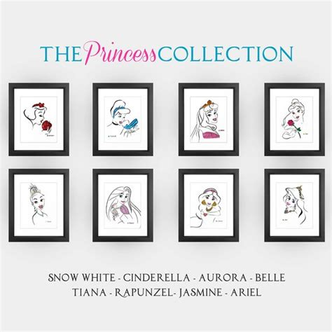 disney princess home decor disney princess minimalist art print set in 8x10 on