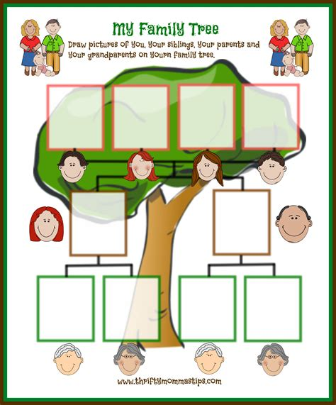 family tree template for kindergarten 6 best images of family tree printable printable family