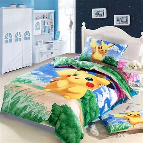 anime bedding 3d pikachu bed kids baby girls boys bedding set cartoon
