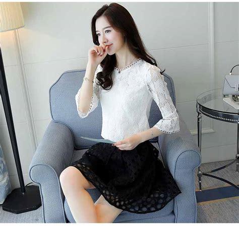 Po Atasan Import A42871 baju atasan brokat putih import 2018 model terbaru jual murah import kerja