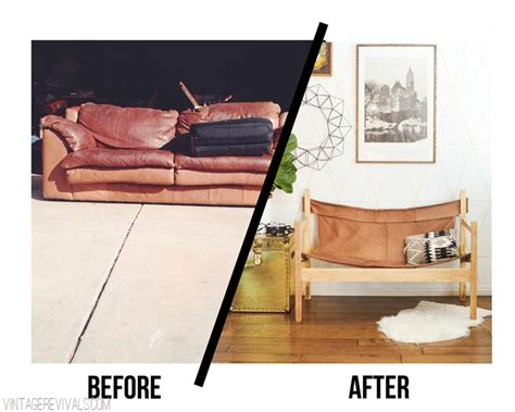 diy leather couch ugly sofa upcycled into leather safari sling bench