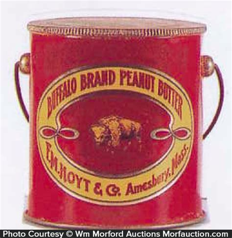 antique advertising buffalo brand peanut butter pail