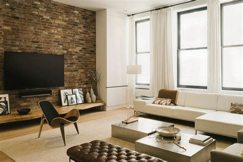 Brick Accent Walls Living Room Industrial With Brick