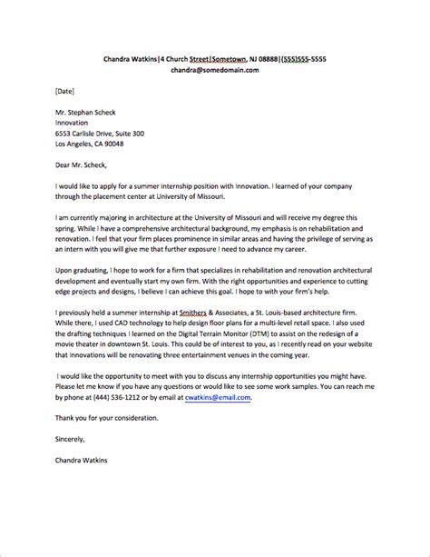internship application letter templates word excel