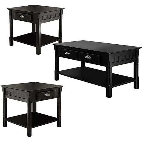 accent table set 3 piece timber accent table set black walmart com