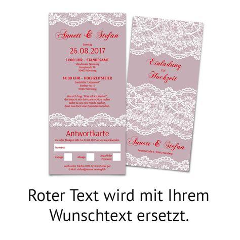 Hochzeitseinladung Antwortkarte by Hochzeitseinladungen Mit Antwortkarte Spitze In Lila