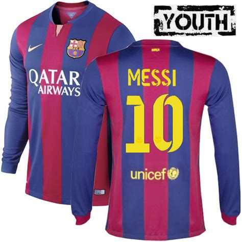 Jersey Barca Home Ls cheap lionel messi youth home ls soccer jersey 14 15 barcelona messi jerseys