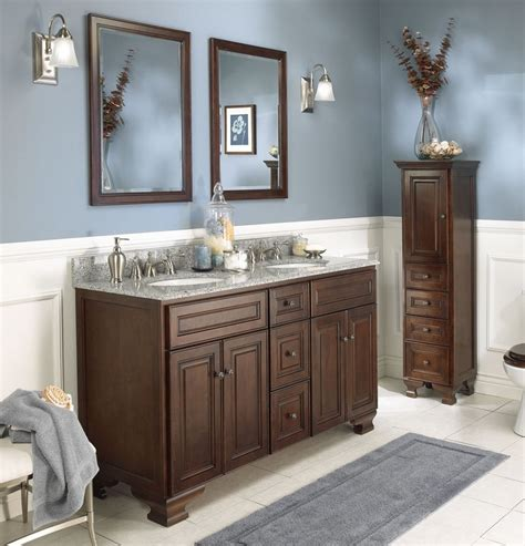 blue brown bathroom decoration using solid mahogany wood kraftmaid bathroom vanities