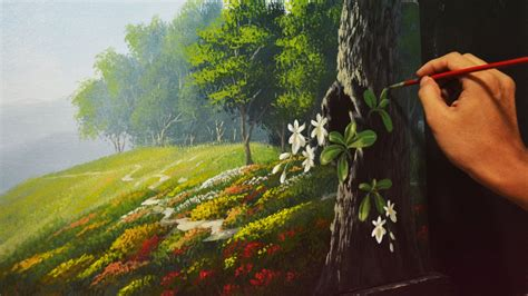 acrylic paint landscape acrylic landscape painting lesson garden and orchids by
