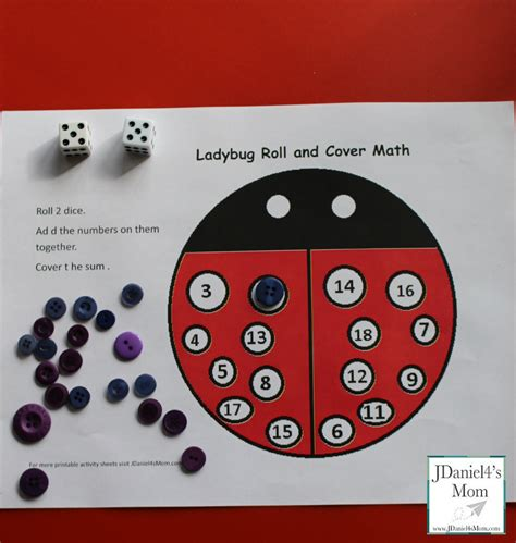 printable dice spots kids math games ladybug roll and cover math