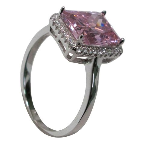 fancy 3 ct emerald cut pink sapphire 925 sterling silver