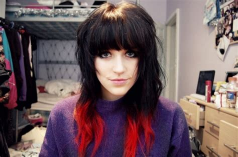 dip dyed red hairstyles 25 groovy black hair with red highlights pictures