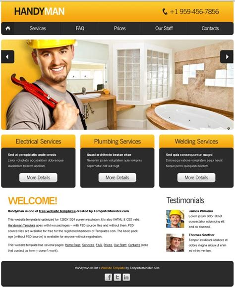 Free Website Template With Slideshow For Maintenance Business Free Website Template And Website Free Department Website Templates