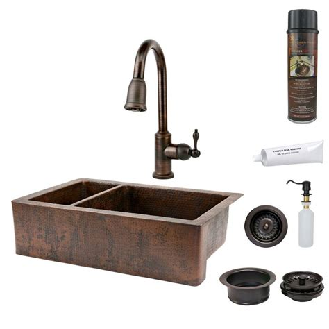 Hammered Copper Kitchen Sinks Premier Copper Products All In One Undermount Hammered Copper 33 In 0 25 75 Basin