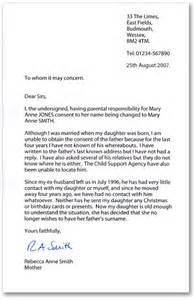 formal letter template uk exle letters of consent when changing a child s name by