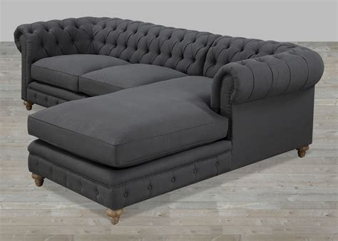 Grey Linen RAF Sectional Button Tufted With Nailheads