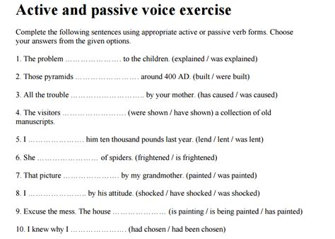 grade 5 a s active passive exercises in