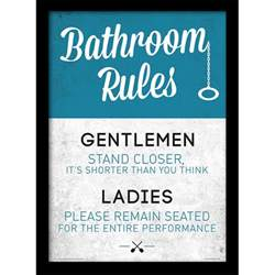 How To Hang Toilet Paper Bathroom Rules Framed 30x40cm Print Homeware Thehut Com