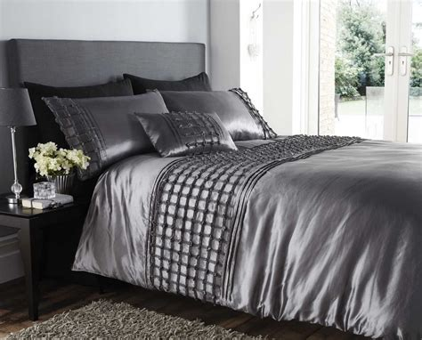 Silver Duvet Set beautiful silver colour stylish ruffles faux silk duvet cover luxury bedding