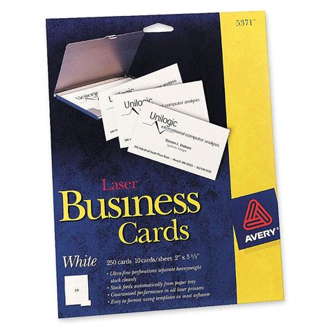 avery laser business cards template printer