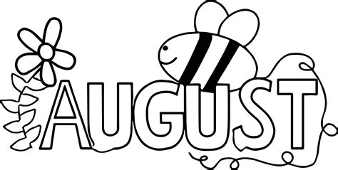 august color summer august bee coloring page wecoloringpage