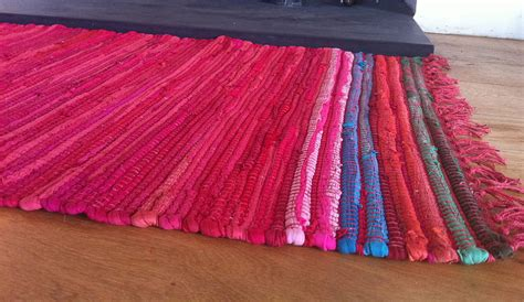 big pink rug vibrant rag rug by the forest co notonthehighstreet