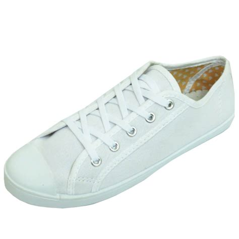 womens white trainer flat lace up plimsoll pumps casual