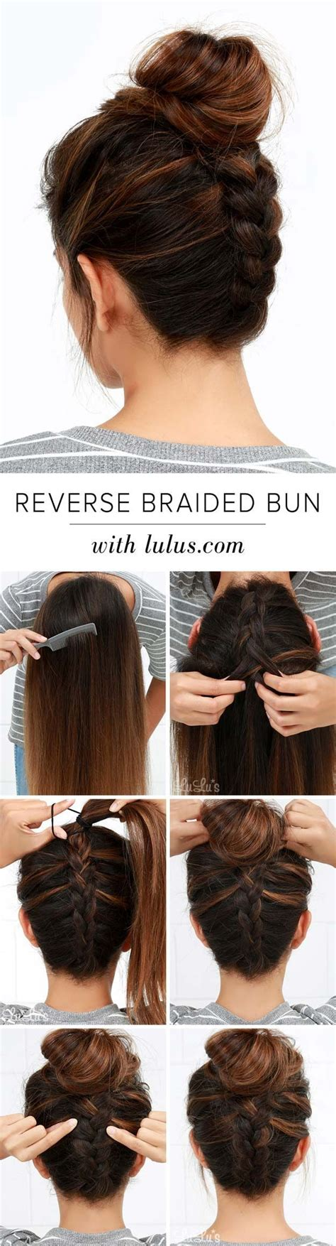 and easy hairstyles for medium cool and easy diy hairstyles reversed braided bun