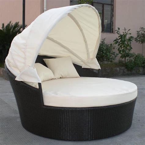 Dominica Canopy Bed In Black Wicker Ivory Cushions Outdoor Furniture Bed